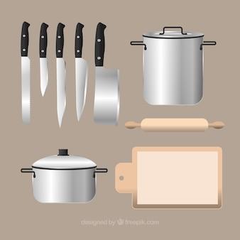 Utensílios de cozinha de fundo em estilo realista