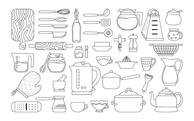 Utensílios de cozinha de utensílios de cozinha esboço conjunto de linha preta ferramentas de cozimento desenhos animados pratos equipamentos utensílios planos