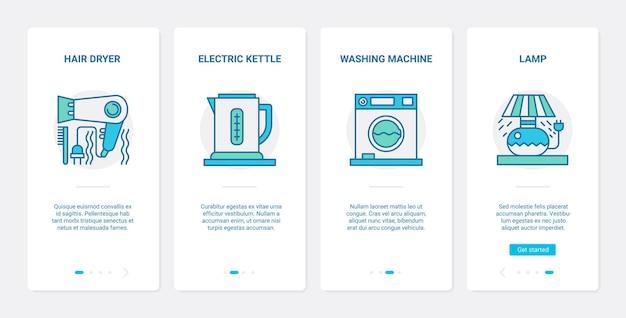 Utensílios de cozinha, dispositivos eletrônicos ux ui, conjunto de tela de página de aplicativo para dispositivos móveis