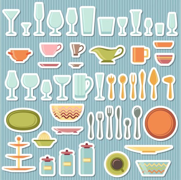 Utensílios de cozinha e conjunto de ícones de panelas