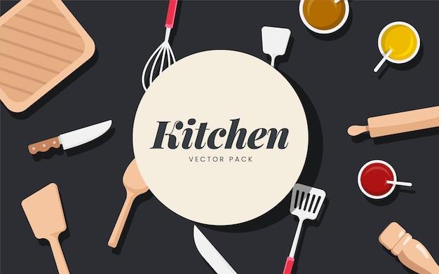 Utensílios de cozinha e ingredientes vector set