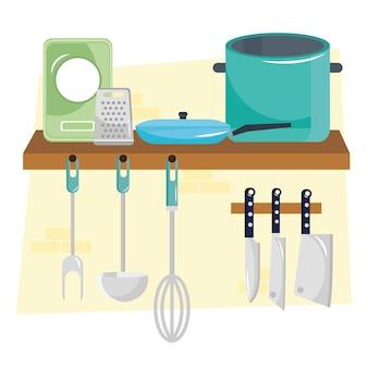 Utensílios de cozinha e talheres em design de ilustração de prateleiras de madeira