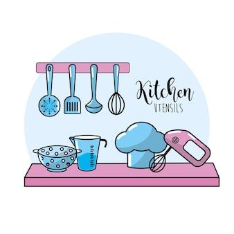 Utensílios de cozinha elementos coleção culinária