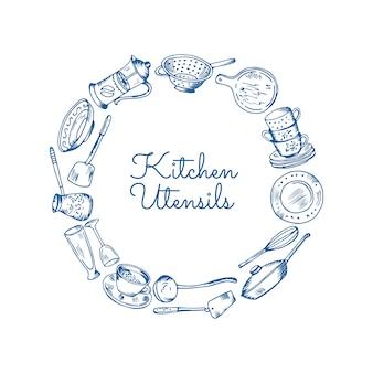 Utensílios de cozinha em forma de círculo com lugar para texto no centro ilustração