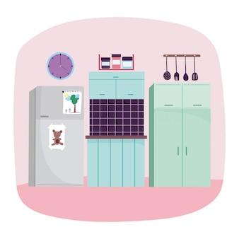 Utensílios de cozinha interior frigorífico azulejo relógio e relógio