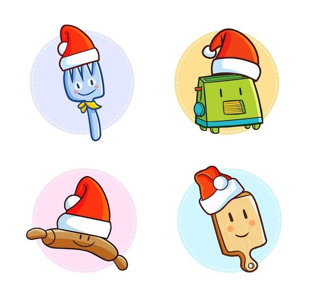 Utensílios de cozinha kawaii fofos e engraçados com chapéu de papai noel no natal