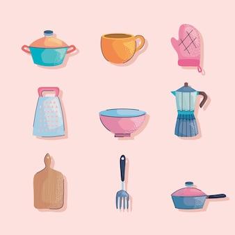 Utensílios de cozinha nove ícones