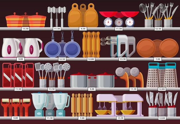 Utensílios de cozinha ou utensílios de cozinha na loja