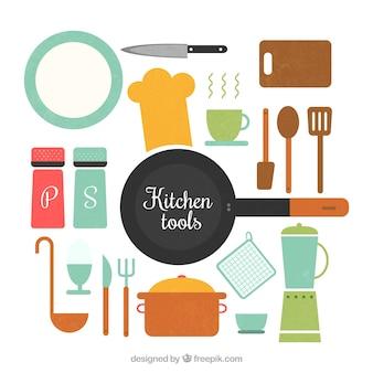 Utensílios de cozinha planas jogo