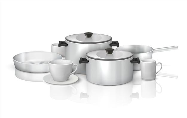 Utensílios de cozinha realistas. utensílios e louças de cozinha 3d, utensílios de cozinha de aço e pratos brancos. conjunto de ilustração vetorial isolado de utensílios de cozinha, panelas e potes na superfície brilhante com reflexo