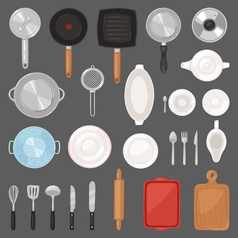 Utensílios de cozinha utensílios de cozinha ou panelas para cozinhar conjunto de alimentos de pan talheres e prato ilustração de louça e frigideira ou panela no fundo
