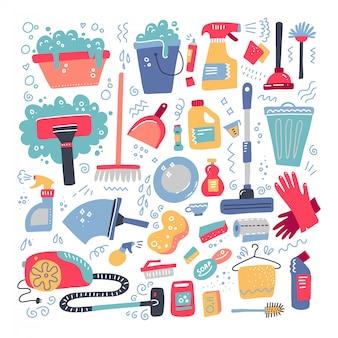Utensílios domésticos e conjunto de limpeza.