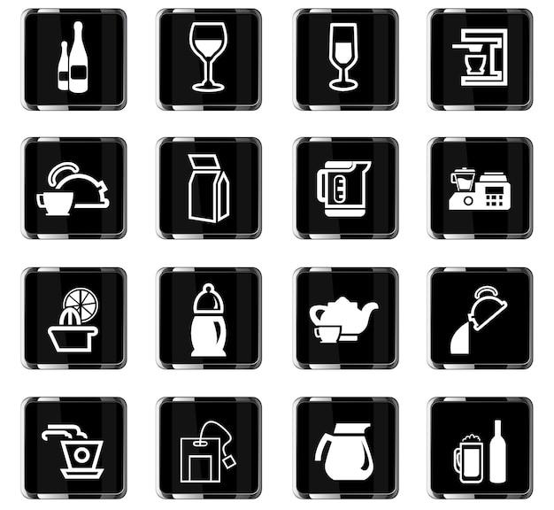 Utensílios para bebidas ícones vetoriais para design de interface de usuário