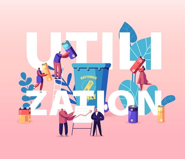 Utilização, conceito de reciclagem. pessoas colocam baterias usadas no contêiner, disposição de lixo de personagens, ilustração de desenho animado