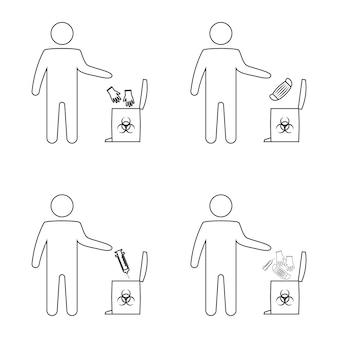 Utilização de máscara médica, luvas e cirúrgicas. o homem joga o lixo médico. eliminação de resíduos de risco biológico. luvas e máscara descartáveis. lixeira com símbolo de risco biológico. linha fina. vetor isolado