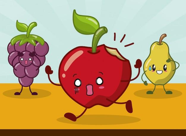 Uva, maçã e pêra sorrindo no estilo kawaii.