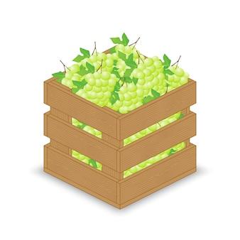 Uvas brancas verdes em caixa de madeira