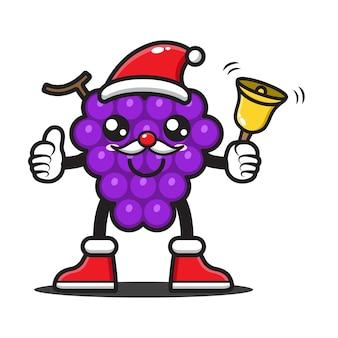Uvas de desenho animado celebrando o natal