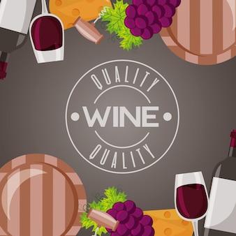 Uvas e copo de barril de madeira de vinho