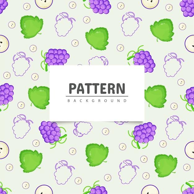 Uvas e folhas de videira de padrão uniforme