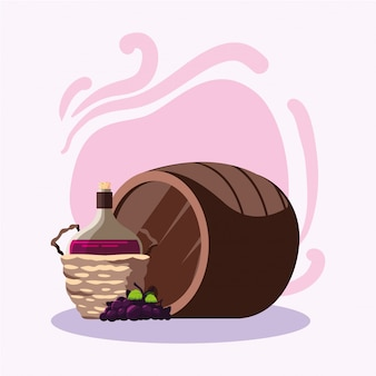 Uvas e jarra de barril de vinho
