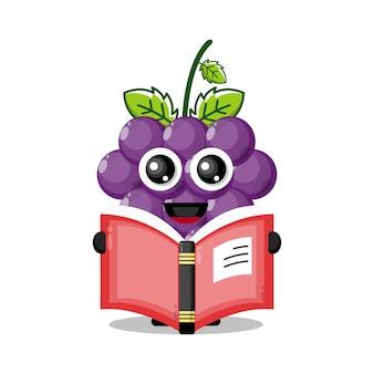 Uvas lendo um livro mascote de personagem fofa