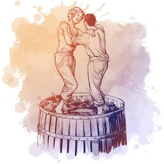 Uvas sendo pressionadas por meninos de fazenda descalços. desenho linear isolado em um local aquarela grunge.