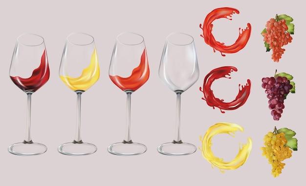 Uvas vermelhas, rosas e brancas. copos com vinhos. respingo de vinho branco, rosa e tinto. ilustração