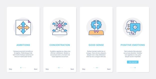 Ux de conceito de linha de empresário de sucesso, conjunto de tela de página de aplicativo móvel de integração de iu