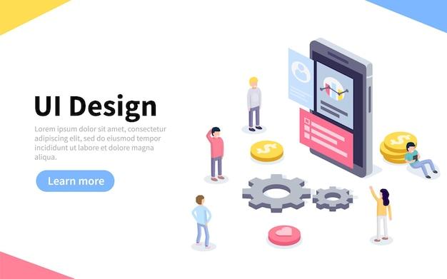 Ux ou página de destino do design de interface do usuário