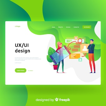Ux, página de destino do design da interface do usuário
