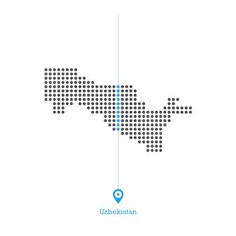 Uzbequistão, pontilhado, mapa, desenho, vetorial