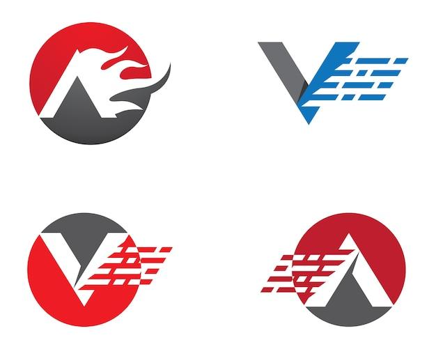 V carta logo vector ícone ilustração design
