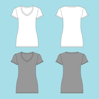 V pescoço senhoras mulheres camiseta ilustração