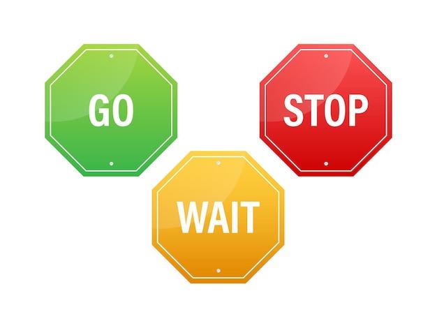 Vá, espere e pare os sinais de trânsito. conjunto de cores. ilustração de estoque vetorial