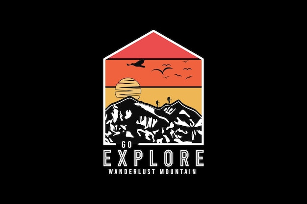 Vá explorar a montanha wanderlust, projete silte em estilo retro