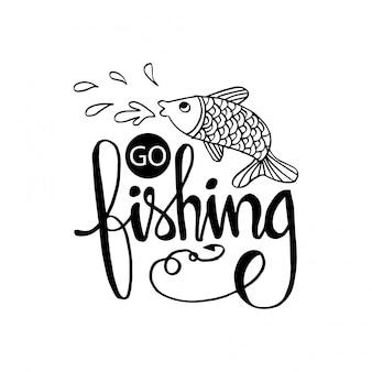 Vá pescar letras de mão