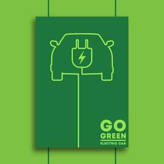 Vá verde e design minimalista de tipografia de carro elétrico para cartaz.