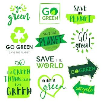 Vá verde e salve a coleção do emblema do planeta