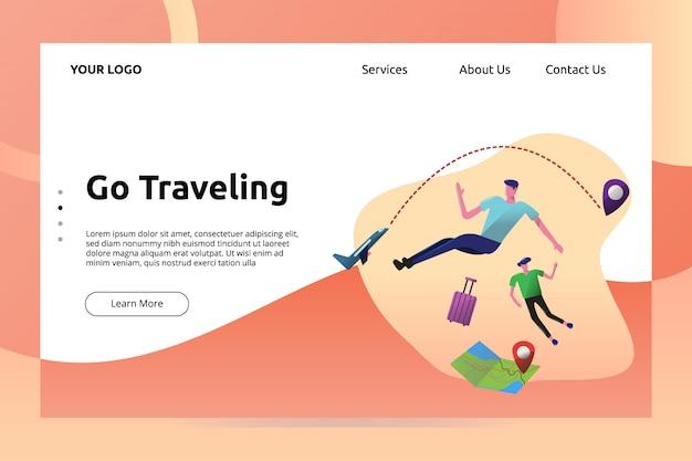 Vá viajar bandeira e ilustração de página de aterragem