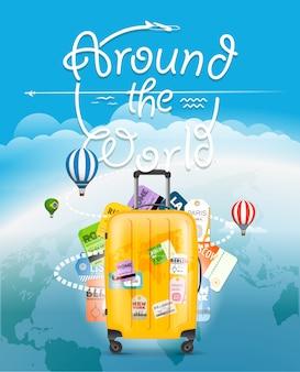 Vá viajar conceito. mala de viagem e diferentes elementos turísticos