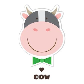 Vaca. adesivo. ilustração vetorial.