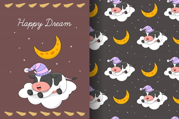 Vaca adorável dormindo na nuvem sob o padrão sem emenda da lua