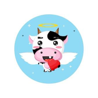 Vaca anjo fofo abraçando corações de amor