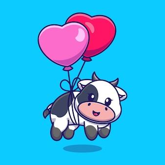 Vaca bebê fofo flutuando com balão de coração