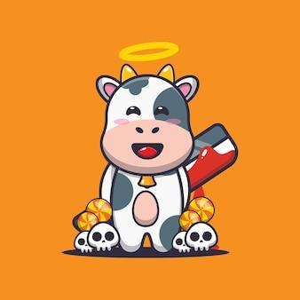 Vaca boa ou má segurando um facão ensanguentado bonito ilustração dos desenhos animados do dia das bruxas