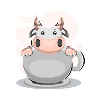 Vaca bonita com desenho de mascote de xícara