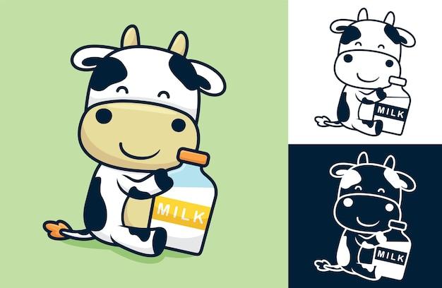 Vaca bonita sentada segurando uma garrafa de leite grande. ilustração dos desenhos animados em estilo simples