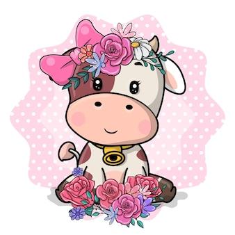Vaca bonito dos desenhos animados com flores