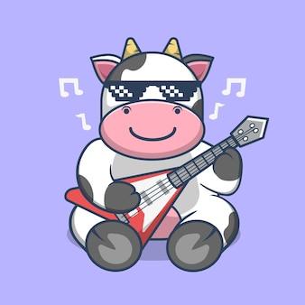 Vaca bonito tocando guitarra elétrica vetor premium dos desenhos animados.